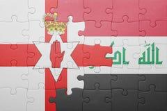 Γρίφος με τη εθνική σημαία της Βόρειας Ιρλανδίας και του Ιράκ Στοκ Εικόνες