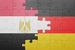 γρίφος με τη εθνική σημαία της Γερμανίας και της Αιγύπτου Στοκ εικόνες με δικαίωμα ελεύθερης χρήσης