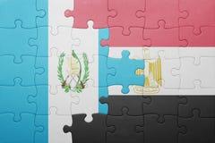 γρίφος με τη εθνική σημαία της Γουατεμάλα και της Αιγύπτου Στοκ Εικόνες