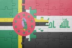 γρίφος με τη εθνική σημαία της Δομίνικας και του Ιράκ Στοκ φωτογραφία με δικαίωμα ελεύθερης χρήσης