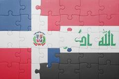 γρίφος με τη εθνική σημαία της Δομινικανής Δημοκρατίας και του Ιράκ Στοκ Εικόνα