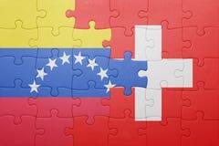 Γρίφος με τη εθνική σημαία της Ελβετίας και της Βενεζουέλας Στοκ Εικόνες
