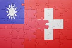 Γρίφος με τη εθνική σημαία της Ελβετίας και της Ταϊβάν Στοκ εικόνα με δικαίωμα ελεύθερης χρήσης