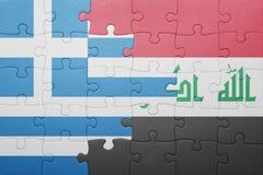 Γρίφος με τη εθνική σημαία της Ελλάδας και του Ιράκ Στοκ Εικόνα