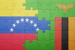 γρίφος με τη εθνική σημαία της Ζάμπια και της Βενεζουέλας Στοκ Εικόνα