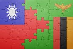 γρίφος με τη εθνική σημαία της Ζάμπια και της Ταϊβάν Στοκ φωτογραφία με δικαίωμα ελεύθερης χρήσης