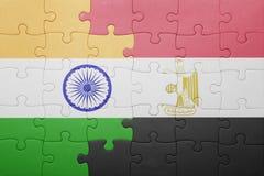 γρίφος με τη εθνική σημαία της Ινδίας και της Αιγύπτου Στοκ Φωτογραφία
