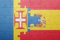 Γρίφος με τη εθνική σημαία της Ισπανίας και της Μαδέρας Στοκ εικόνες με δικαίωμα ελεύθερης χρήσης