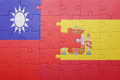 Γρίφος με τη εθνική σημαία της Ισπανίας και της Ταϊβάν Στοκ φωτογραφία με δικαίωμα ελεύθερης χρήσης