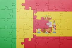 γρίφος με τη εθνική σημαία της Ισπανίας και του Μαλί Στοκ φωτογραφίες με δικαίωμα ελεύθερης χρήσης