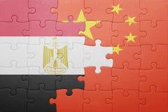 Γρίφος με τη εθνική σημαία της Κίνας και της Αιγύπτου Στοκ εικόνες με δικαίωμα ελεύθερης χρήσης
