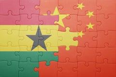 Γρίφος με τη εθνική σημαία της Κίνας και της Γκάνας Στοκ φωτογραφία με δικαίωμα ελεύθερης χρήσης