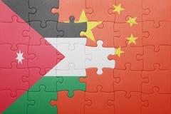 Γρίφος με τη εθνική σημαία της Κίνας και της Ιορδανίας Στοκ Εικόνα