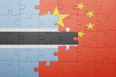 γρίφος με τη εθνική σημαία της Κίνας και της Μποτσουάνα Στοκ φωτογραφίες με δικαίωμα ελεύθερης χρήσης