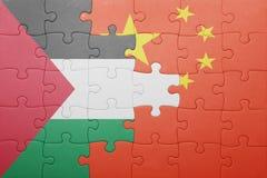 Γρίφος με τη εθνική σημαία της Κίνας και της Παλαιστίνης Στοκ φωτογραφίες με δικαίωμα ελεύθερης χρήσης