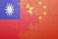 Γρίφος με τη εθνική σημαία της Κίνας και της Ταϊβάν Στοκ φωτογραφία με δικαίωμα ελεύθερης χρήσης