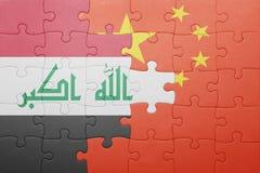 Γρίφος με τη εθνική σημαία της Κίνας και του Ιράκ Στοκ Εικόνα