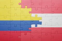γρίφος με τη εθνική σημαία της Κολομβίας και της Αυστρίας Στοκ εικόνες με δικαίωμα ελεύθερης χρήσης