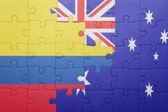 Γρίφος με τη εθνική σημαία της Κολομβίας και της Αυστραλίας Στοκ εικόνα με δικαίωμα ελεύθερης χρήσης
