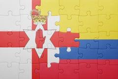 Γρίφος με τη εθνική σημαία της Κολομβίας και της Βόρειας Ιρλανδίας Στοκ Εικόνα