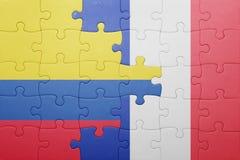Γρίφος με τη εθνική σημαία της Κολομβίας και της Γαλλίας Στοκ Εικόνες