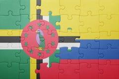 Γρίφος με τη εθνική σημαία της Κολομβίας και της Δομίνικας Στοκ Εικόνα