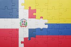 Γρίφος με τη εθνική σημαία της Κολομβίας και της Δομινικανής Δημοκρατίας Στοκ φωτογραφίες με δικαίωμα ελεύθερης χρήσης