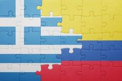 Γρίφος με τη εθνική σημαία της Κολομβίας και της Ελλάδας Στοκ εικόνες με δικαίωμα ελεύθερης χρήσης