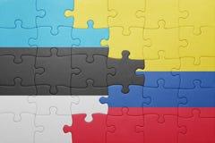 Γρίφος με τη εθνική σημαία της Κολομβίας και της Εσθονίας Στοκ Φωτογραφία
