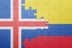 Γρίφος με τη εθνική σημαία της Κολομβίας και της Ισλανδίας Στοκ φωτογραφία με δικαίωμα ελεύθερης χρήσης