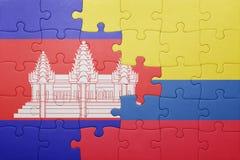 Γρίφος με τη εθνική σημαία της Κολομβίας και της Καμπότζης Στοκ Φωτογραφίες