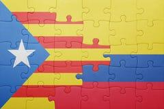Γρίφος με τη εθνική σημαία της Κολομβίας και της Καταλωνίας Στοκ Εικόνα