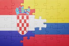 Γρίφος με τη εθνική σημαία της Κολομβίας και της Κροατίας Στοκ εικόνες με δικαίωμα ελεύθερης χρήσης