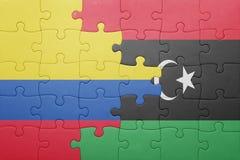 γρίφος με τη εθνική σημαία της Κολομβίας και της Λιβύης Στοκ φωτογραφίες με δικαίωμα ελεύθερης χρήσης