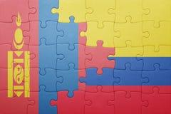 Γρίφος με τη εθνική σημαία της Κολομβίας και της Μογγολίας Στοκ εικόνες με δικαίωμα ελεύθερης χρήσης