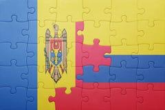 Γρίφος με τη εθνική σημαία της Κολομβίας και της Μολδαβίας Στοκ Εικόνες