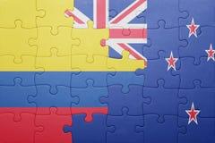 Γρίφος με τη εθνική σημαία της Κολομβίας και της Νέας Ζηλανδίας Στοκ Εικόνες