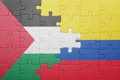 Γρίφος με τη εθνική σημαία της Κολομβίας και της Παλαιστίνης Στοκ φωτογραφίες με δικαίωμα ελεύθερης χρήσης
