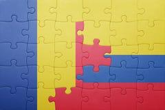 Γρίφος με τη εθνική σημαία της Κολομβίας και της Ρουμανίας Στοκ Φωτογραφίες