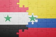 Γρίφος με τη εθνική σημαία της Κολομβίας και της Συρίας Στοκ Εικόνες