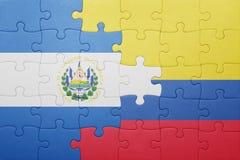 Γρίφος με τη εθνική σημαία της Κολομβίας και του Ελ Σαλβαδόρ Στοκ Εικόνες
