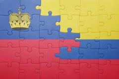 Γρίφος με τη εθνική σημαία της Κολομβίας και του Λιχτενστάιν Στοκ φωτογραφία με δικαίωμα ελεύθερης χρήσης