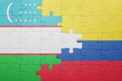 Γρίφος με τη εθνική σημαία της Κολομβίας και του Ουζμπεκιστάν Στοκ εικόνες με δικαίωμα ελεύθερης χρήσης