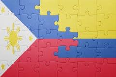 Γρίφος με τη εθνική σημαία της Κολομβίας και των Φιλιππινών Στοκ φωτογραφία με δικαίωμα ελεύθερης χρήσης