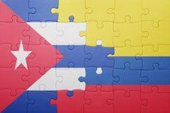 Γρίφος με τη εθνική σημαία της Κολομβίας και της Κούβας Στοκ Εικόνες