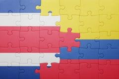 Γρίφος με τη εθνική σημαία της Κολομβίας και της Κόστα Ρίκα Στοκ φωτογραφία με δικαίωμα ελεύθερης χρήσης