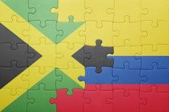 Γρίφος με τη εθνική σημαία της Κολομβίας και της Τζαμάικας Στοκ Εικόνα