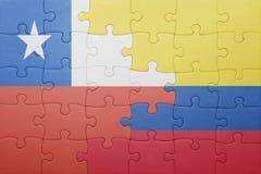 Γρίφος με τη εθνική σημαία της Κολομβίας και της Χιλής Στοκ Εικόνα