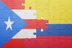 Γρίφος με τη εθνική σημαία της Κολομβίας και του Πουέρτο Ρίκο Στοκ φωτογραφία με δικαίωμα ελεύθερης χρήσης