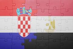 γρίφος με τη εθνική σημαία της Κροατίας και της Αιγύπτου Στοκ Εικόνα